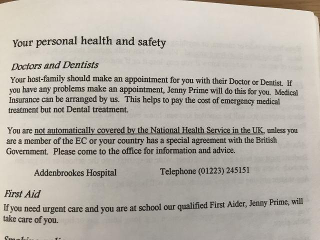 イギリス語学学校のインフォメーションパンフレット・健康についてのページ