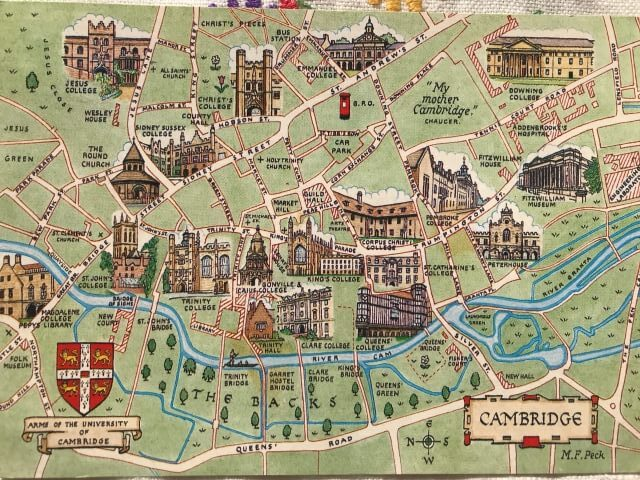 Cambridge England map <絵葉書>イギリスケンブリッジの地図